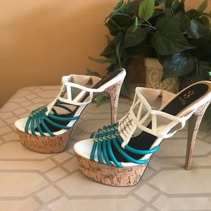 Strappy 2 color spike heels
